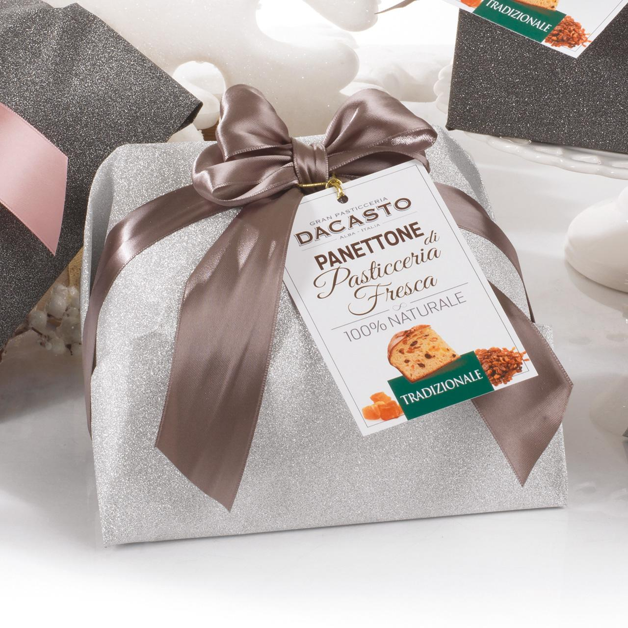 Traditional Panettone (silver Wrapping Paper) And Panettone With Marron Glacé (silver Wrapping Paper)