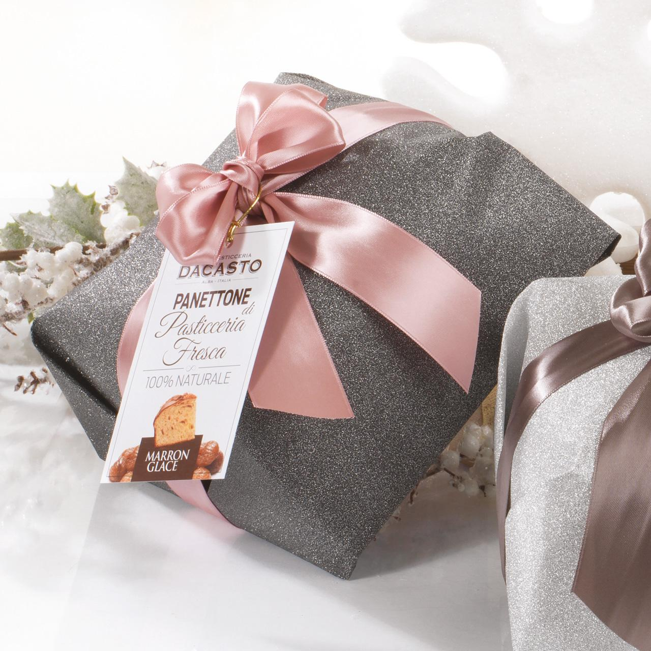 Panettone With Marron Glacé (black Wrapping Paper) And Traditional Panettone (black Wrapping Paper)
